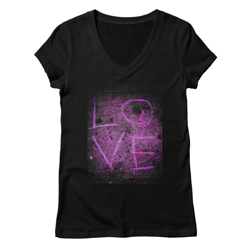 PUNK ROCK LOVE (Aka: URBAN LOVE) Women's V-Neck by MEDIUM Artist Shop