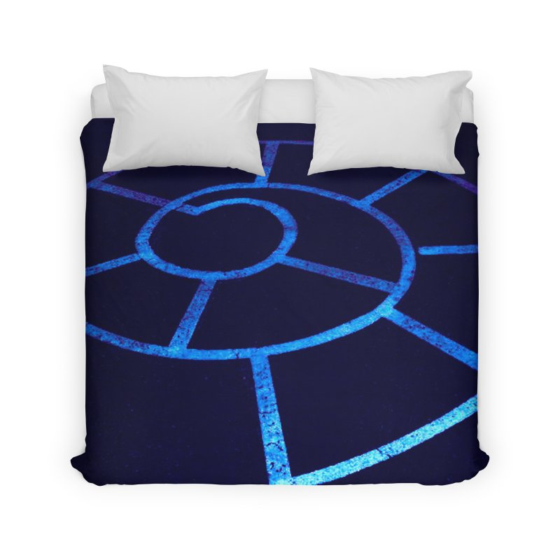 Journey to the Center of Your Childhood (Aka: Surreal Playground - Blue Spiral Hopscoth) Home Duvet by MEDIUM Artist Shop