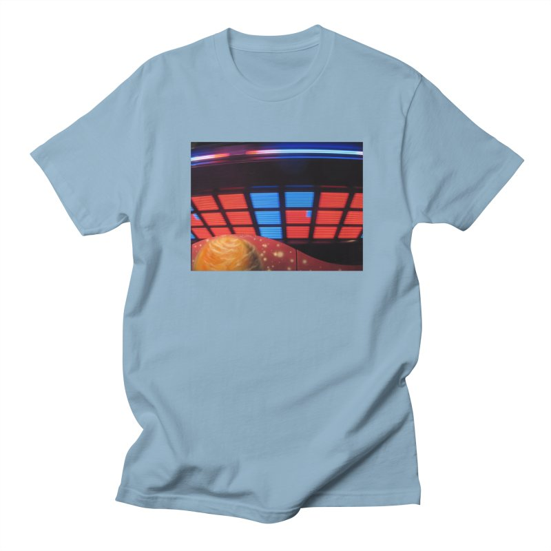Starship Saucer (Red & Blue) Men's T-Shirt by MEDIUM Artist Shop