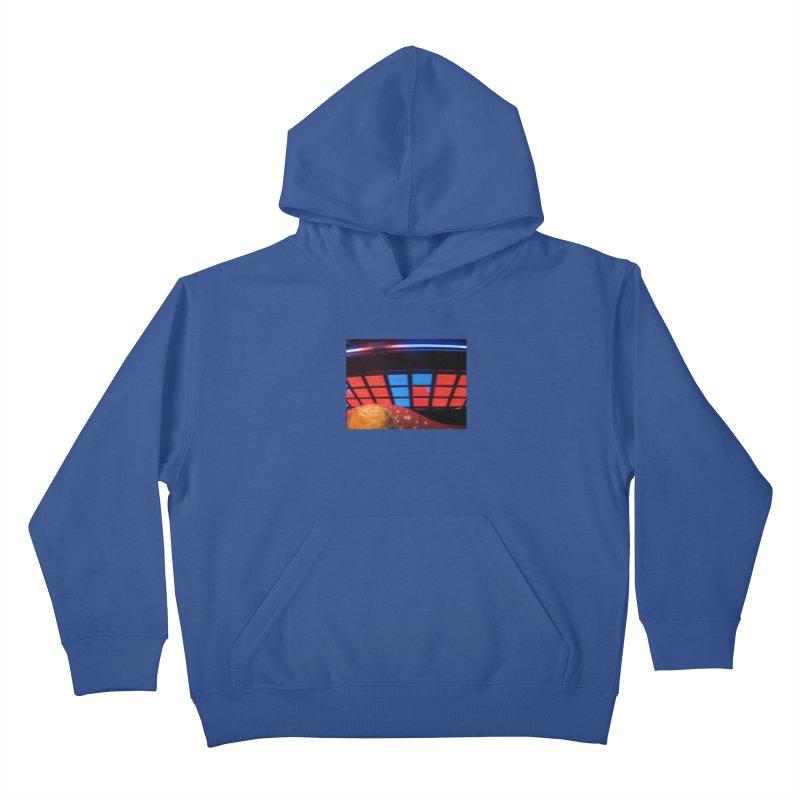 Starship Saucer (Red & Blue) Kids Pullover Hoody by MEDIUM Artist Shop