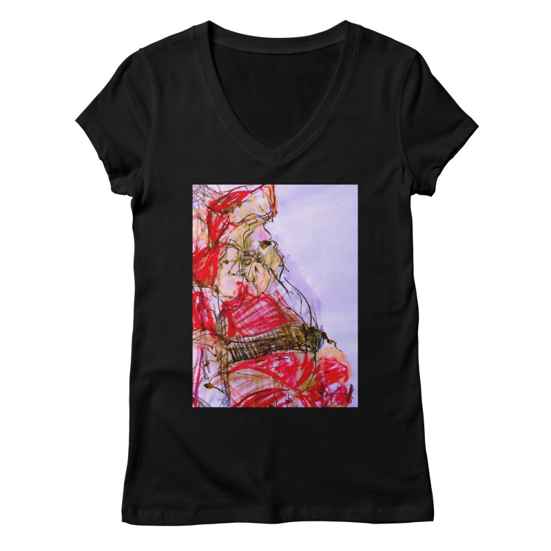 Knock Yourself Out Santa! Women's V-Neck by MEDIUM Artist Shop