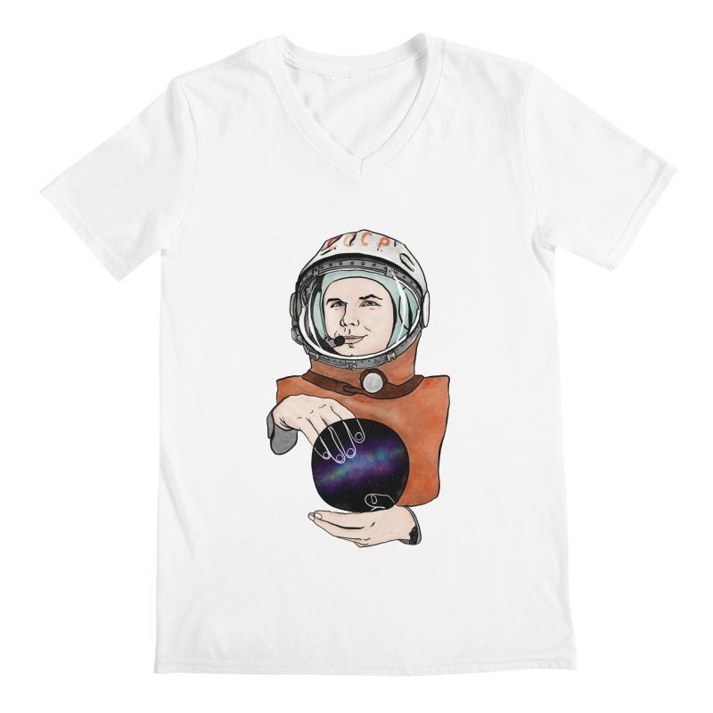 Yuri Gagarin. Space day. Men's Regular V-Neck by selendripity's Artist Shop