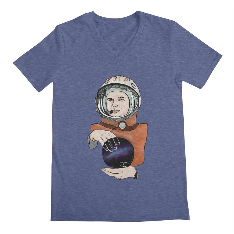 Yuri Gagarin. Space day. Men's Regular V-Neck by selendripity's Artist Shop