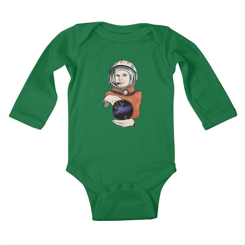 Yuri Gagarin. Space day. Kids Baby Longsleeve Bodysuit by selendripity's Artist Shop