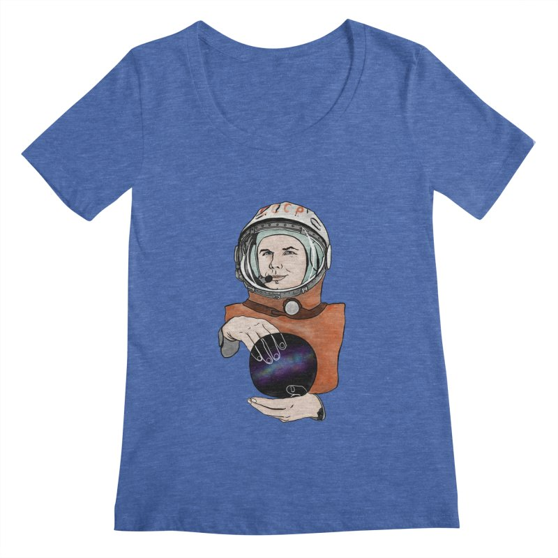 Yuri Gagarin. Space day. Women's Regular Scoop Neck by selendripity's Artist Shop