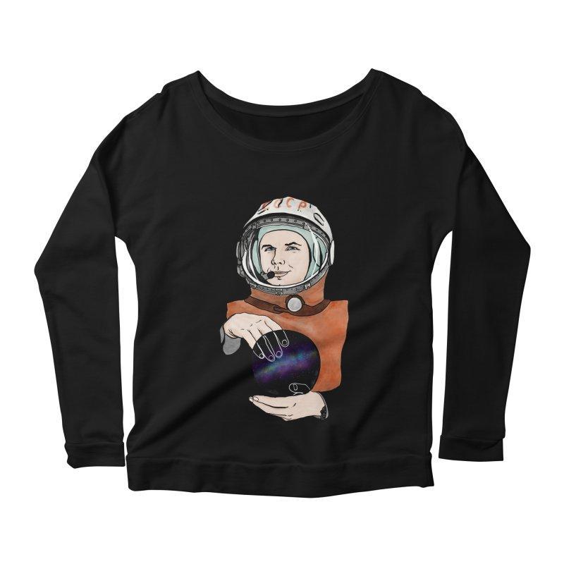 Yuri Gagarin. Space day. Women's Scoop Neck Longsleeve T-Shirt by selendripity's Artist Shop