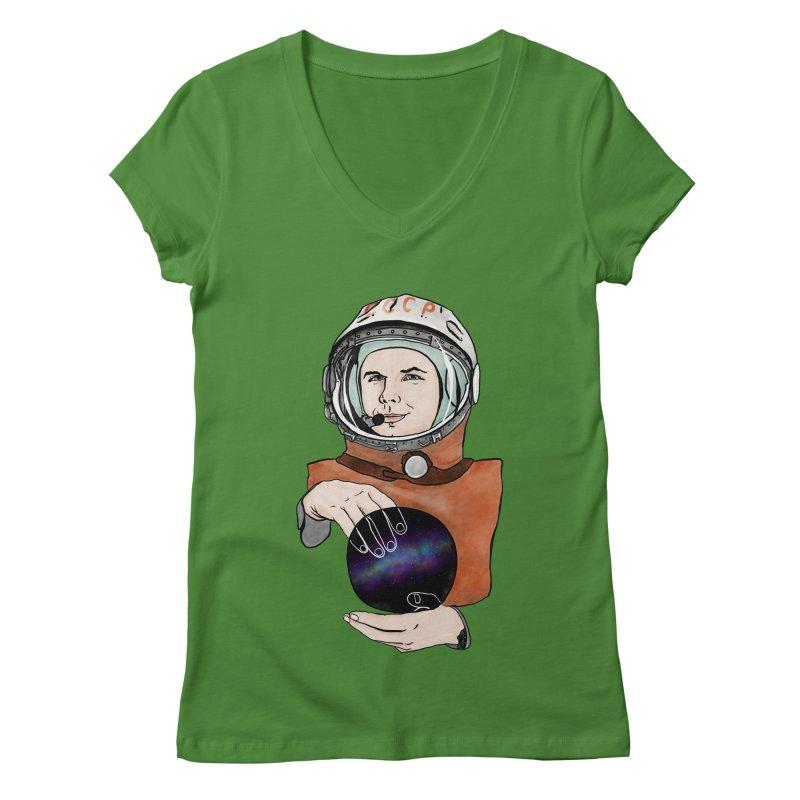 Yuri Gagarin. Space day. Women's Regular V-Neck by selendripity's Artist Shop