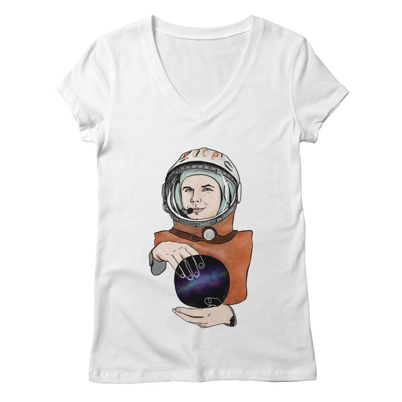 Yuri Gagarin. Space day. Women's Regular V-Neck by selendripity's Artist Shop