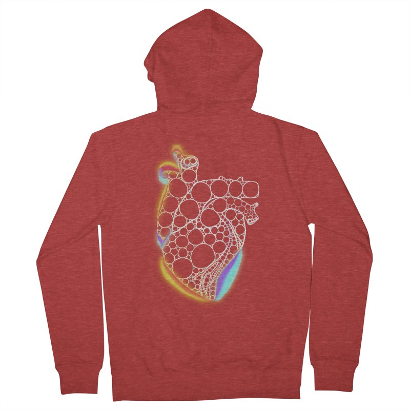Fractal Heart with chromatic aberrations Men's French Terry Zip-Up Hoody by selendripity's Artist Shop