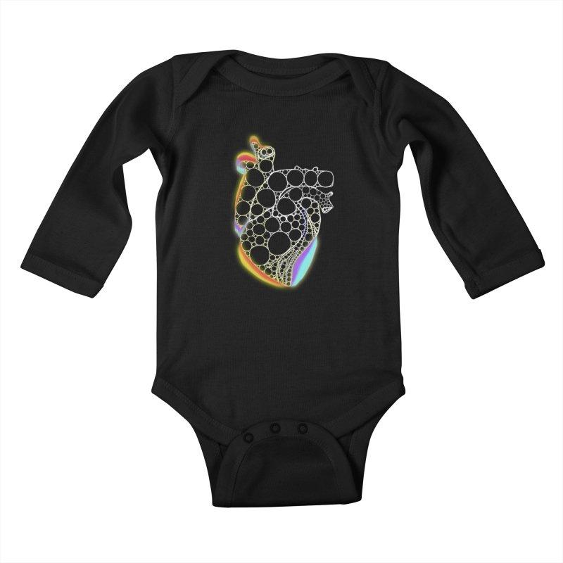 Fractal Heart with chromatic aberrations Kids Baby Longsleeve Bodysuit by selendripity's Artist Shop