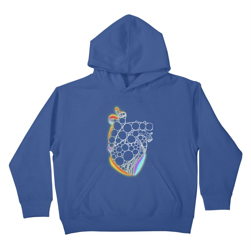 Fractal Heart with chromatic aberrations Kids Pullover Hoody by selendripity's Artist Shop