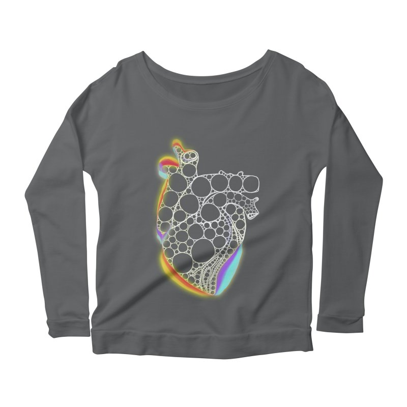 Fractal Heart with chromatic aberrations Women's Scoop Neck Longsleeve T-Shirt by selendripity's Artist Shop