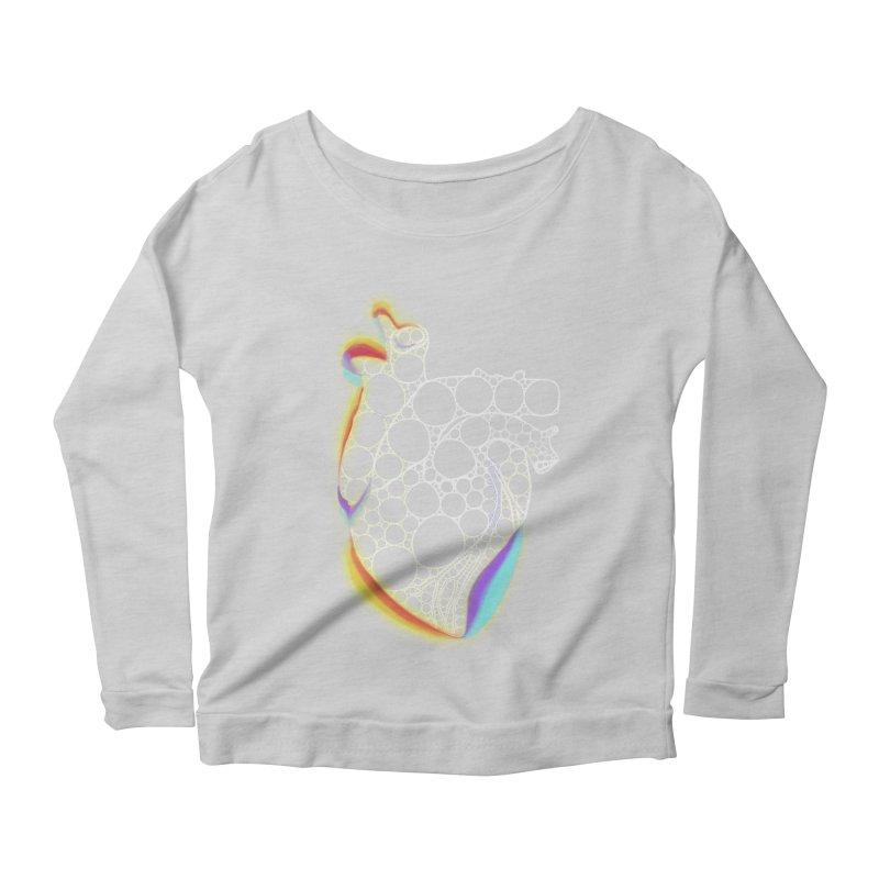 Fractal Heart with chromatic aberrations Women's Scoop Neck Longsleeve T-Shirt by selendripity's Artist Shop