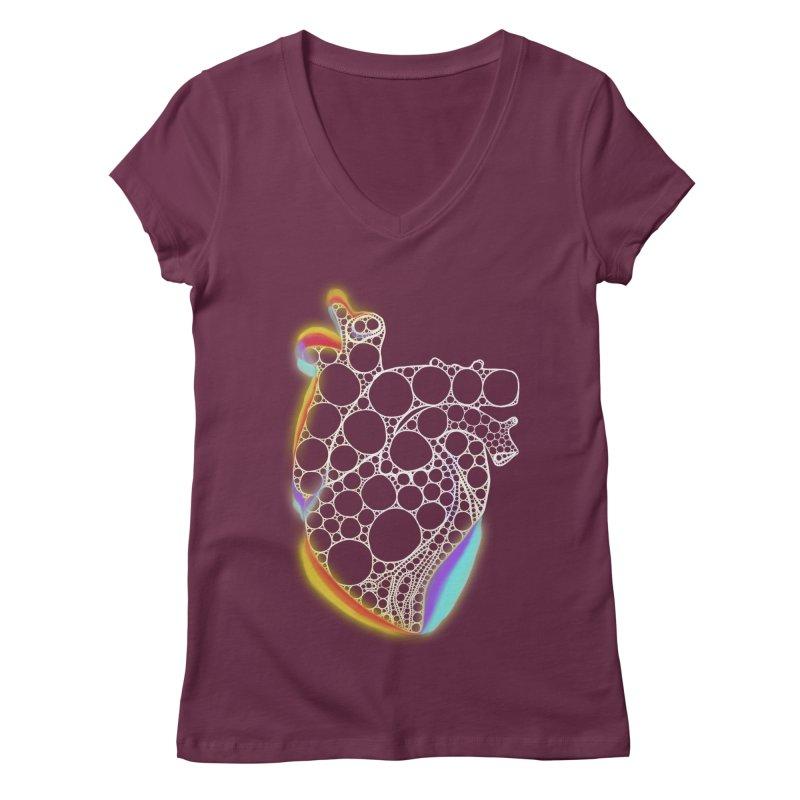 Fractal Heart with chromatic aberrations Women's Regular V-Neck by selendripity's Artist Shop