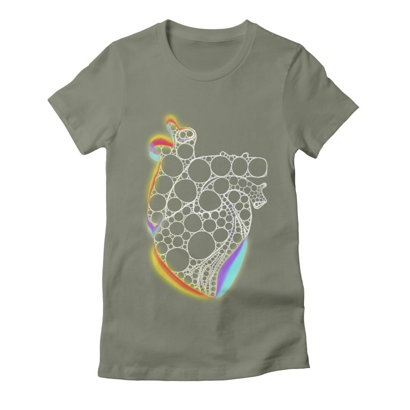 Fractal Heart with chromatic aberrations Women's Fitted T-Shirt by selendripity's Artist Shop