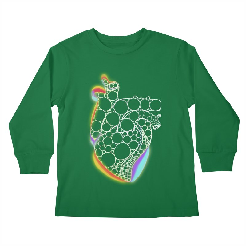 Fractal Heart with chromatic aberrations Kids Longsleeve T-Shirt by selendripity's Artist Shop