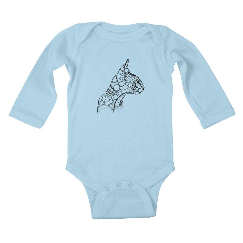 Black Fractal Sphynx Kids Baby Longsleeve Bodysuit by selendripity's Artist Shop