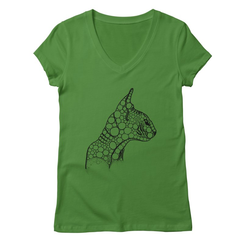 Black Fractal Sphynx Women's Regular V-Neck by selendripity's Artist Shop