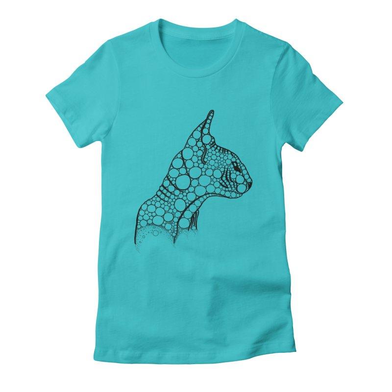 Black Fractal Sphynx Women's Fitted T-Shirt by selendripity's Artist Shop