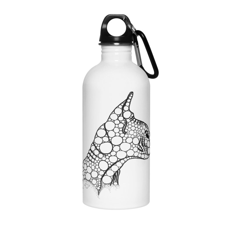 Black Fractal Sphynx Accessories Water Bottle by selendripity's Artist Shop