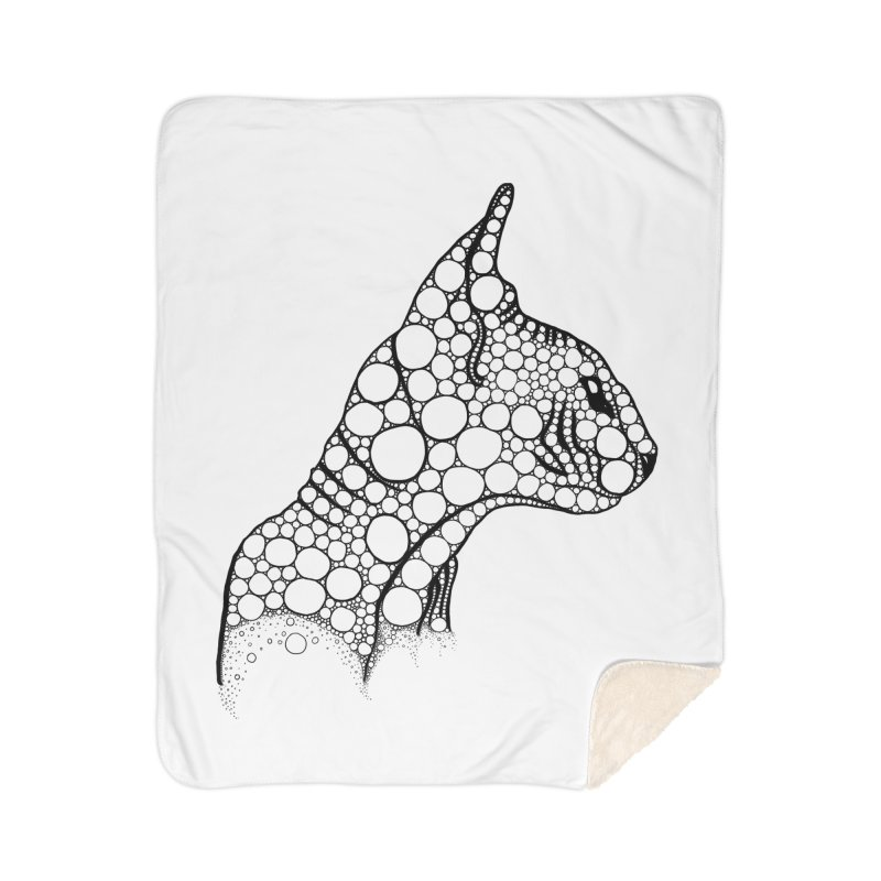 Black Fractal Sphynx Home Sherpa Blanket Blanket by selendripity's Artist Shop