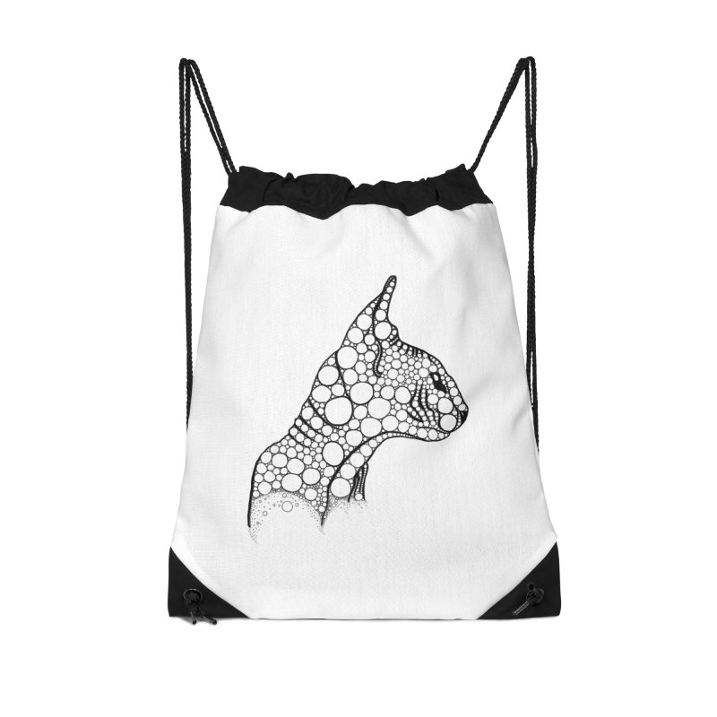 Black Fractal Sphynx Accessories Drawstring Bag Bag by selendripity's Artist Shop