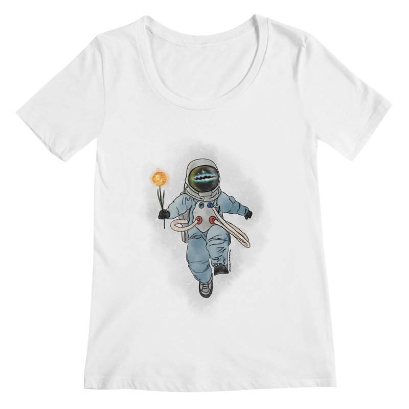 Spaceman with a Star Women's Regular Scoop Neck by selendripity's Artist Shop