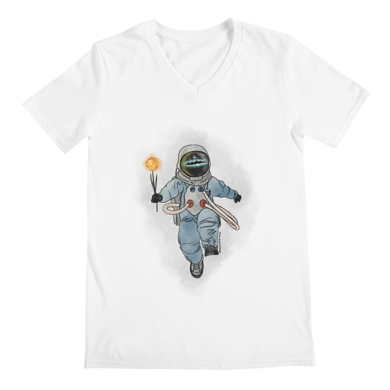 Spaceman with a Star Men's V-Neck by selendripity's Artist Shop