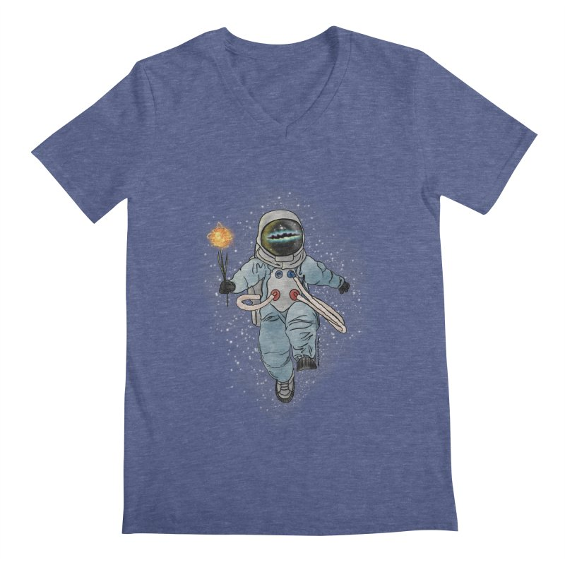 Spaceman with a Star Men's Regular V-Neck by selendripity's Artist Shop