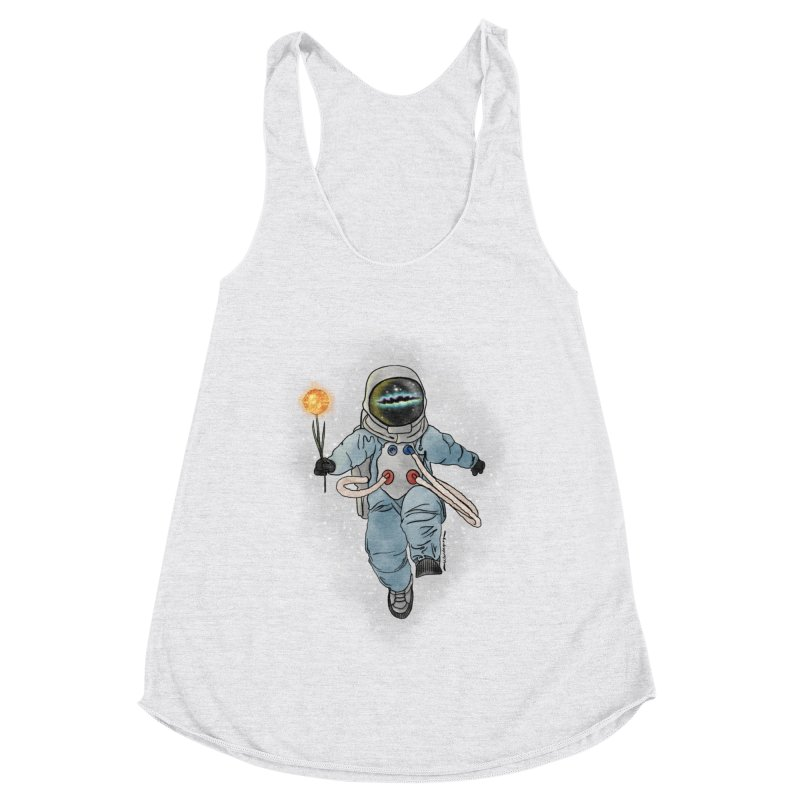 Spaceman with a Star Women's Racerback Triblend Tank by selendripity's Artist Shop