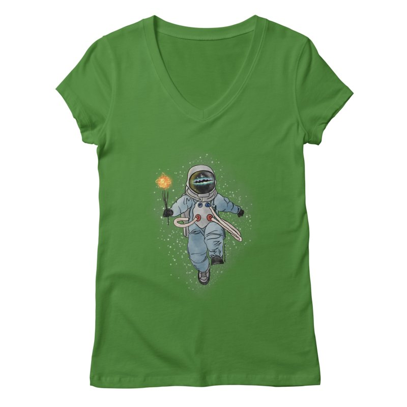 Spaceman with a Star Women's Regular V-Neck by selendripity's Artist Shop