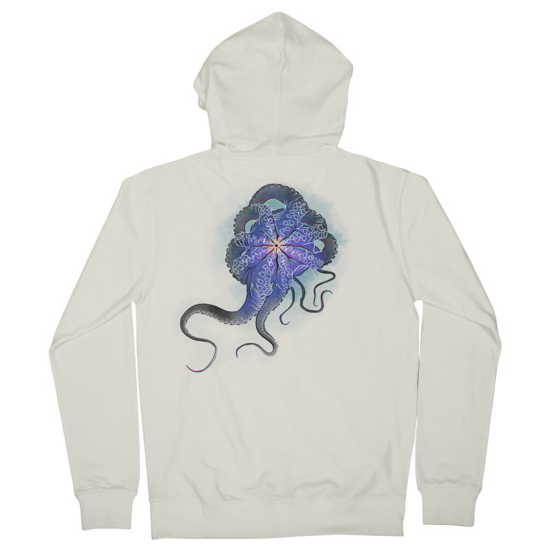 Octopus in lines with glitch effect Men's French Terry Zip-Up Hoody by selendripity's Artist Shop