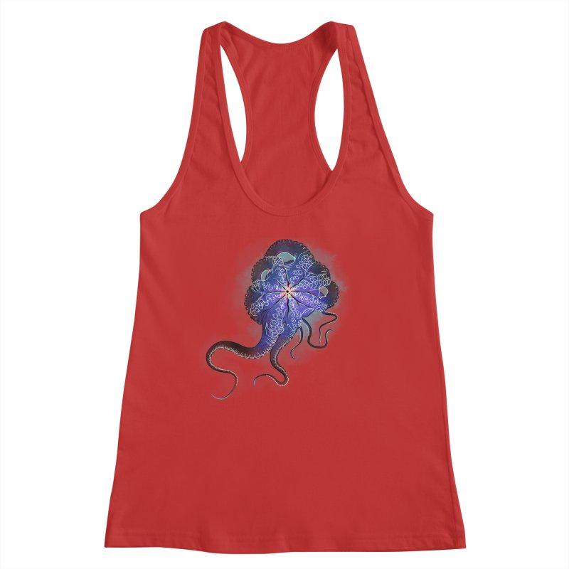 Octopus in lines with glitch effect Women's Racerback Tank by selendripity's Artist Shop