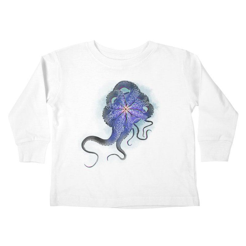 Octopus in lines with glitch effect Kids Toddler Longsleeve T-Shirt by selendripity's Artist Shop