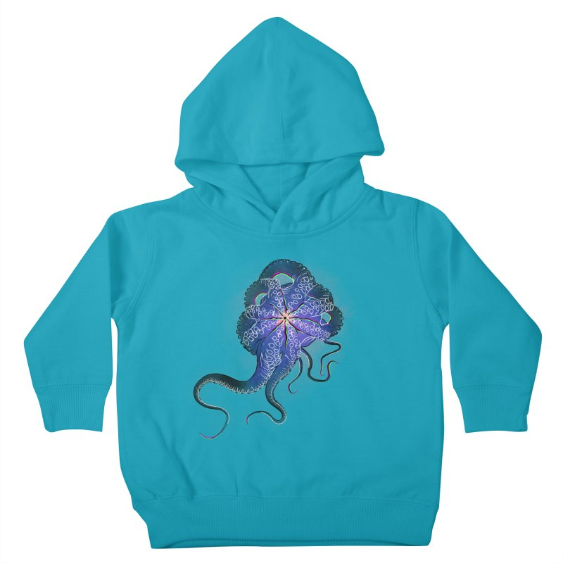 Octopus in lines with glitch effect Kids Toddler Pullover Hoody by selendripity's Artist Shop
