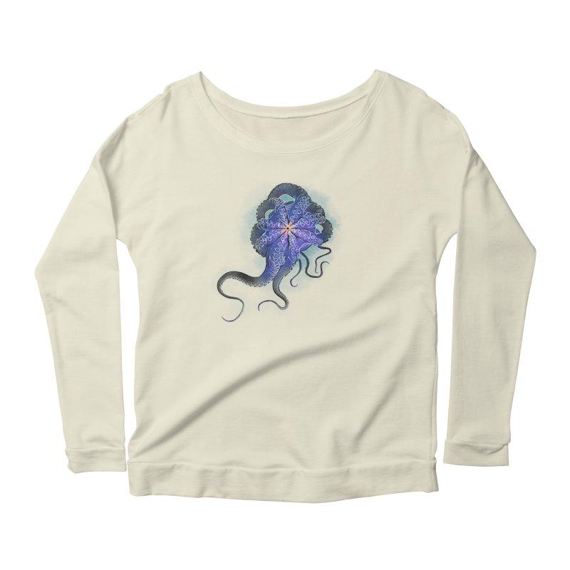 Octopus in lines with glitch effect Women's Scoop Neck Longsleeve T-Shirt by selendripity's Artist Shop