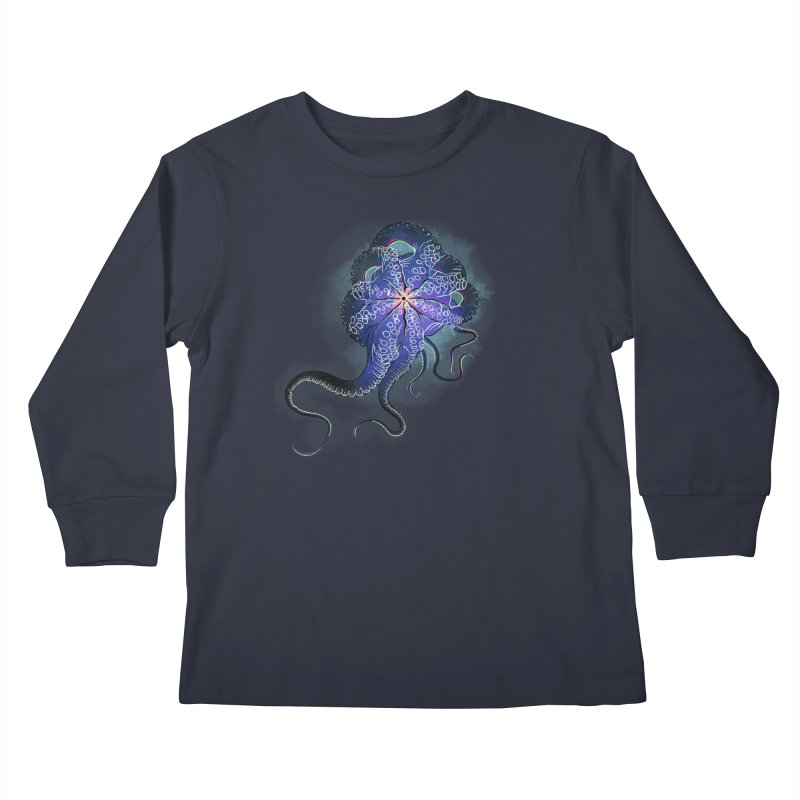 Octopus in lines with glitch effect Kids Longsleeve T-Shirt by selendripity's Artist Shop