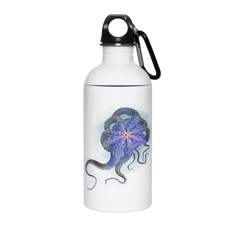 Octopus in lines with glitch effect Accessories Water Bottle by selendripity's Artist Shop