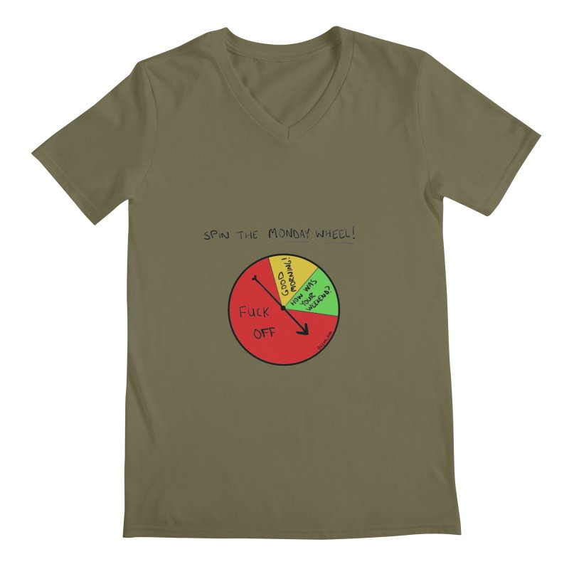 Spin The Monday Wheel Men's V-Neck by Semi-Rad's Artist Shop