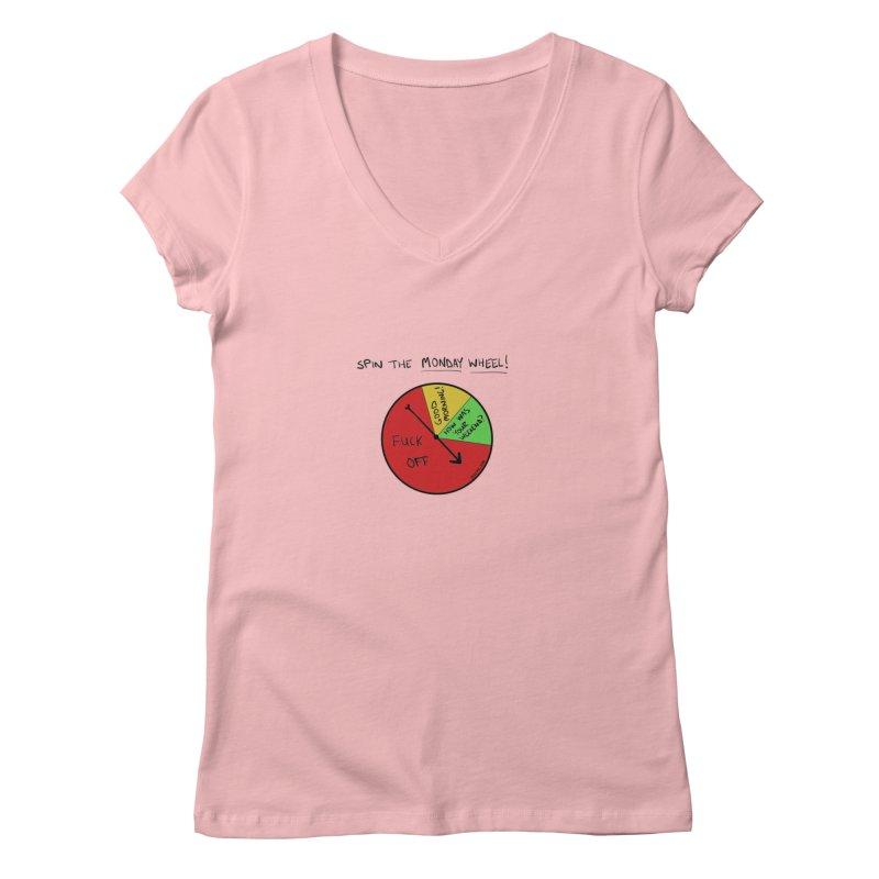 Spin The Monday Wheel Women's V-Neck by Semi-Rad's Artist Shop