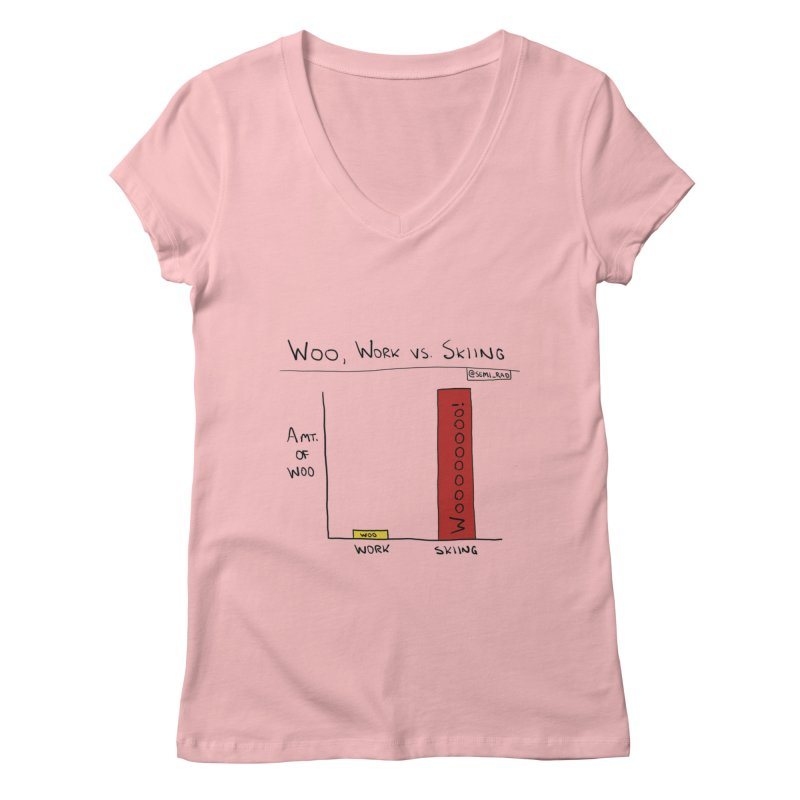 The Woo of Skiing Women's V-Neck by Semi-Rad's Artist Shop