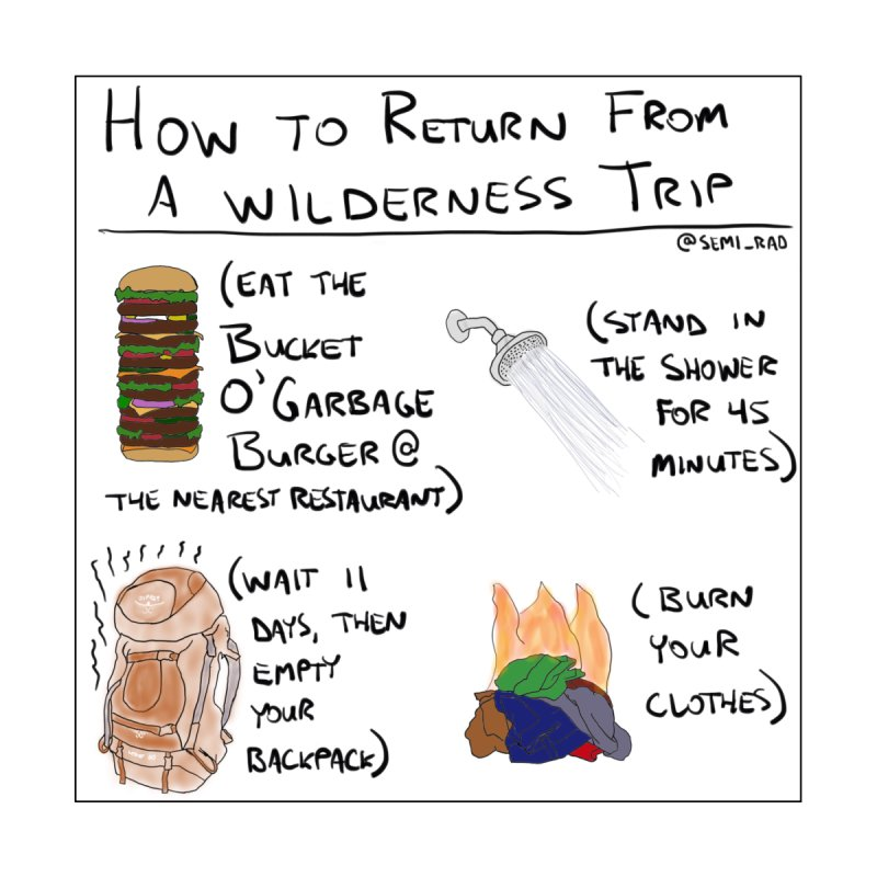 How to Return From a Wilderness Trip Home Framed Fine Art Print by Semi-Rad's Artist Shop