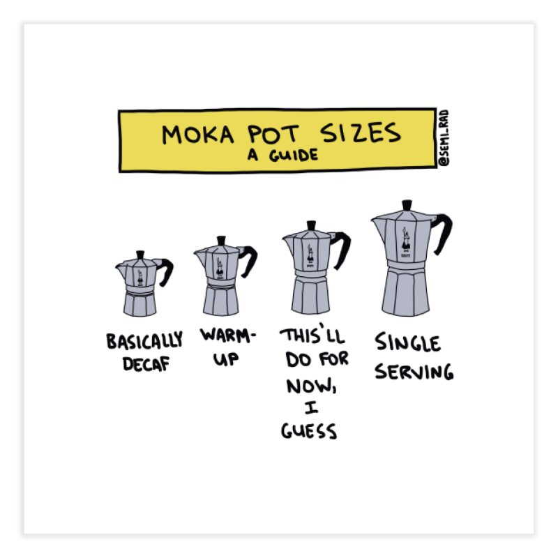 Moka Pot Sizes: A Guide Home Fine Art Print by Semi-Rad's Artist Shop