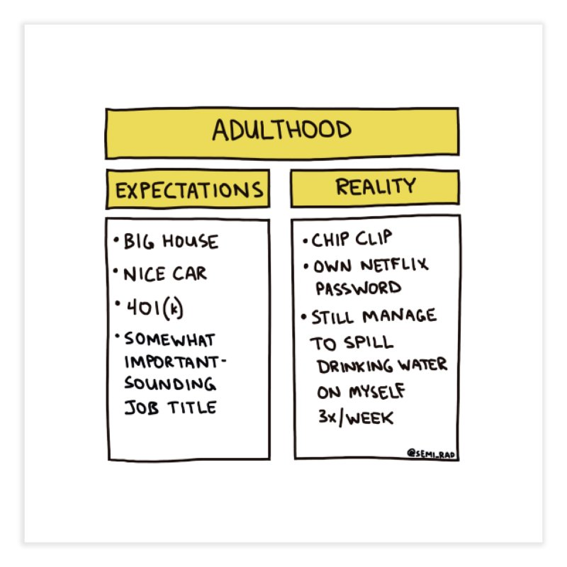 Adulthood: Expectations vs. Reality Home Fine Art Print by Semi-Rad's Artist Shop