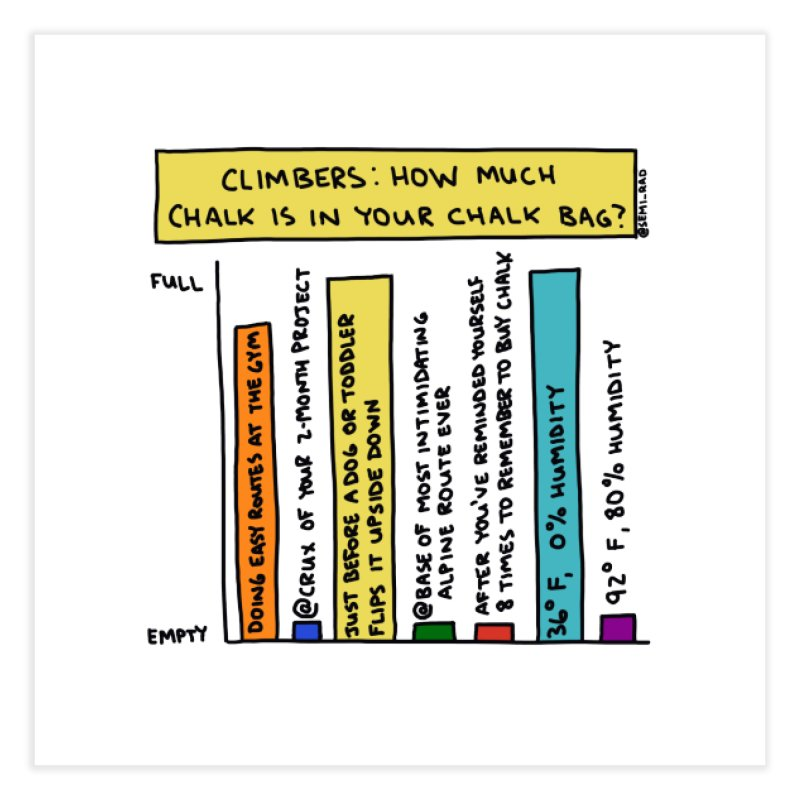 Climbers: How Much Chalk Is In Your Chalk Bag? Home Fine Art Print by Semi-Rad's Artist Shop