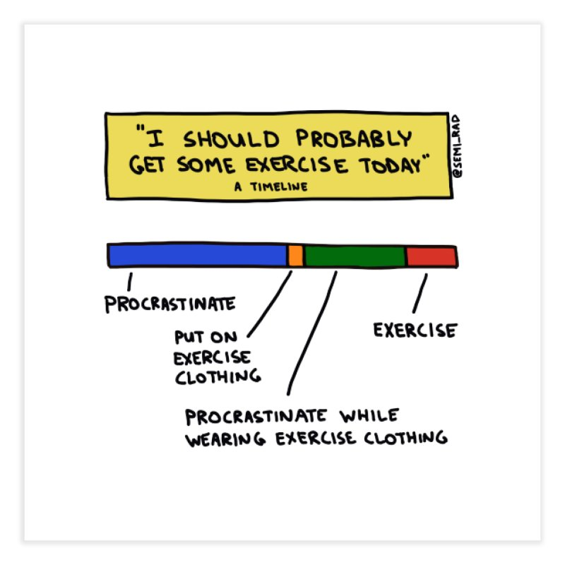 I Should Probably Get Some Exercise Today: A Timeline Home Fine Art Print by Semi-Rad's Artist Shop