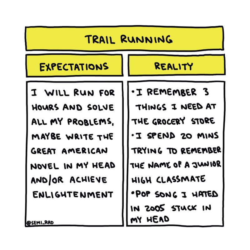 Trail Running: Expectations Vs. Reality by Semi-Rad's Artist Shop