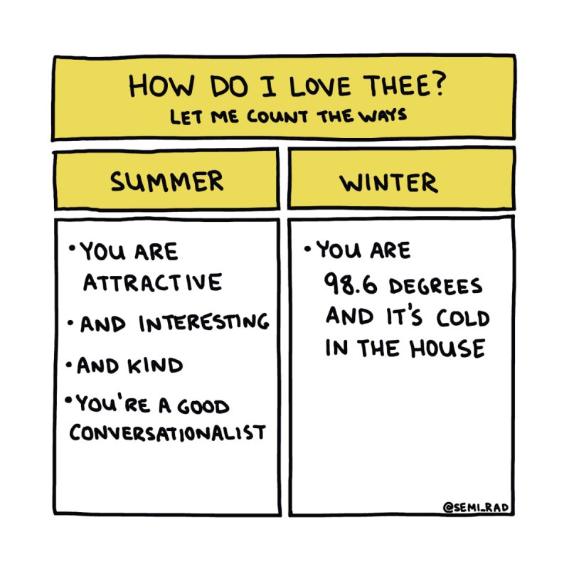 How Do I Love Thee? Summer Vs. Winter by Semi-Rad's Artist Shop