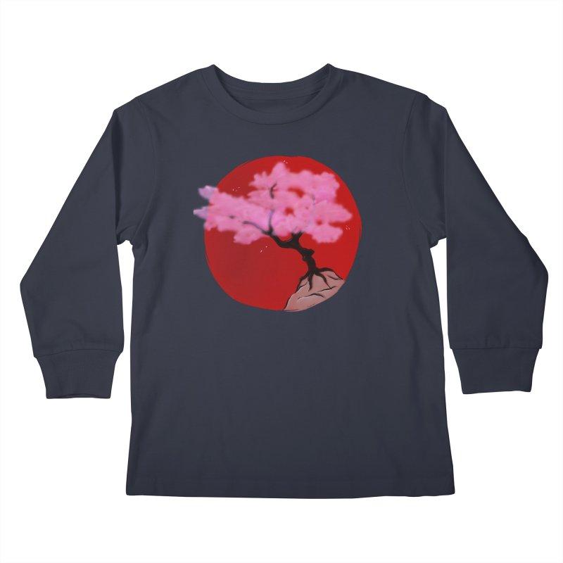 Sakura Sunrise Kids Longsleeve T-Shirt by Serferis's Shop
