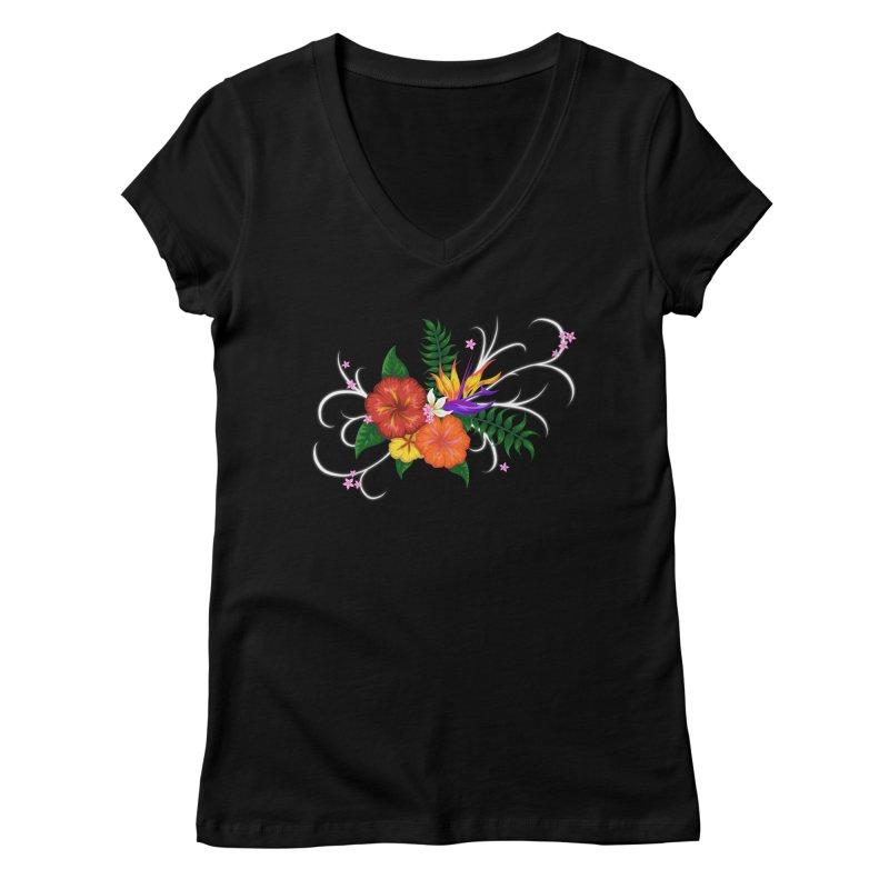 Tropical Flowers Women's V-Neck by Serferis's Shop